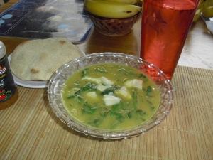 Sopa de calabazas y espinacas